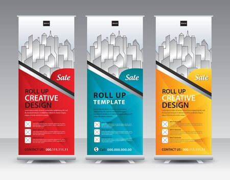 Roll up banner stand template Creative design, Modern Exhibition Advertising, flyer, presentation, pull up, web banner, leaflet, j-flag, x-stand, x-banner, poster, display, vector eps10, colorful background set Ilustracja