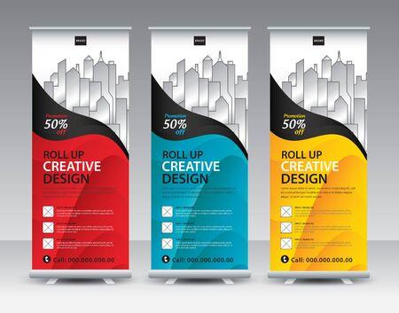 Roll up banner stand szablon Kreatywny projekt, nowoczesna reklama wystawowa, ulotka, prezentacja, pull up, baner internetowy, ulotka, j-flag, x-stand, x-banner, plakat, wyświetlacz, wektor eps10 Ilustracje wektorowe