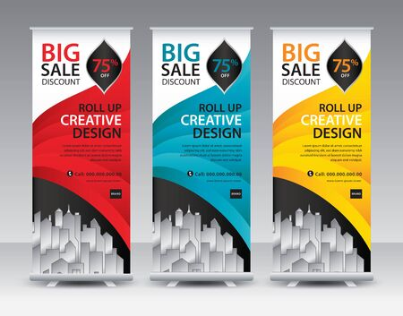 Roll up banner stand template Creative design, Modern Exhibition Advertising, flyer, presentation, pull up, web banner, leaflet, j-flag, x-stand, x-banner, poster, display, vector eps10