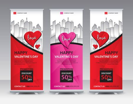 Roll up banner stand template Creative design, Modern Exhibition Advertising vector eps10, Valentines day concept 일러스트