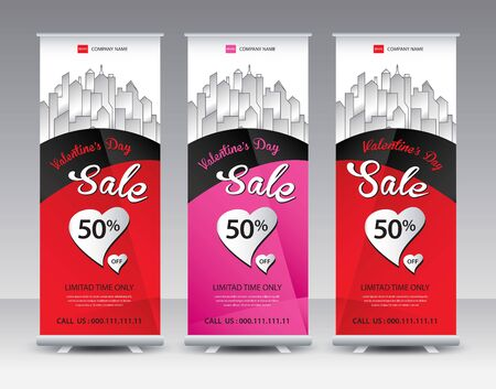 Roll up banner stand template Creative design, Modern Exhibition Advertising vector eps10, Valentines day sale banner concept 일러스트