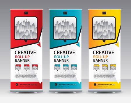 Roll up banner stand template Creative design, Modern Exhibition Advertising vector Standard-Bild - 138706154