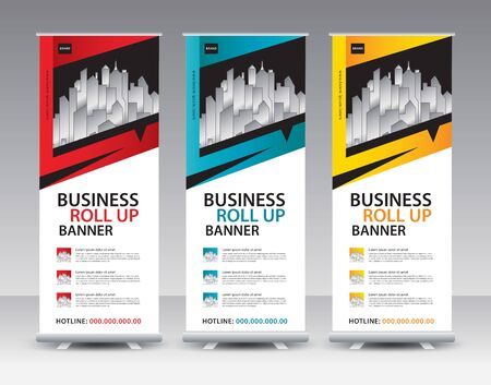 Roll up banner stand template Creative design, Modern Exhibition Advertising vector Standard-Bild - 138706175