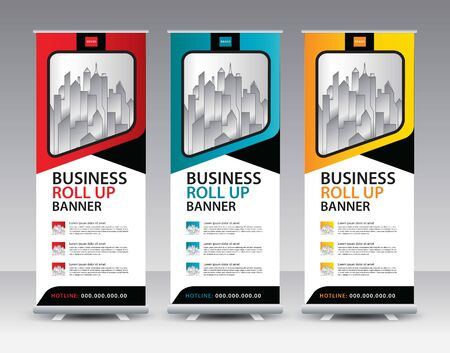 Roll up banner stand template Creative design, Modern Exhibition Advertising vector