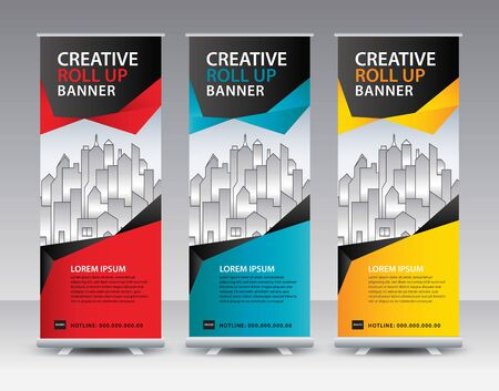 Business Roll Up Banner stand vector creative design. banner stand or flag design layout. Modern Exhibition Advertising vector eps10. Trend design geometric. Illustration