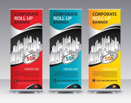 Business Roll Up Banner stand vector creative design. banner stand or flag design layout. Modern Exhibition Advertising vector eps10. Trend design geometric. Standard-Bild - 138764556
