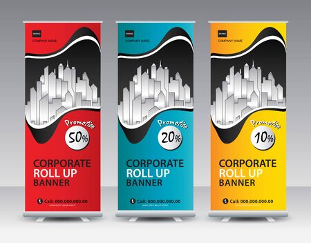 Corporate Roll Up Banner stand vector creative design. Sale banner stand or flag design layout. Modern Exhibition Advertising vector eps10. Trend design geometric.