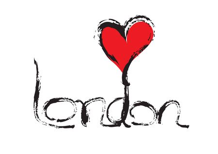 London lettering with red heart shape vector for  banner, t-shirt, clothes, postcard, poster, brand, logotype, book cover