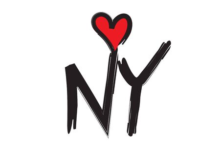 Love New York handwritten abbreviated text with heart shape vector illustration can be use for banner, t-shirt, clothes, postcard, poster, brand, logotype, book cover