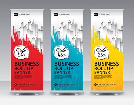 Business Roll Up Banner stand vector creative design. Sale banner stand or flag design layout. Modern Exhibition Advertising vector. Trend design geometric. Standard-Bild - 140513469