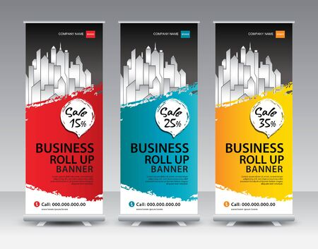 Business Roll Up Banner stand vector creative design. Sale banner stand or flag design layout. Modern Exhibition Advertising vector. Trend design geometric.