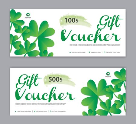 Green Gift Voucher template, Discount voucher vector, Coupon, discount card, Sale banner, headers, web banner, Leaf background