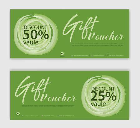 Green Gift Voucher template, Discount voucher vector, Coupon, discount card, Sale banner, headers, web banner, Creative idea, Green background