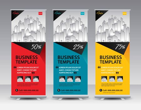 Business Roll Up Banner stand vector creative design. Sale banner stand or flag design layout. Modern Exhibition Advertising vector. Trend design geometric. Standard-Bild - 142115329