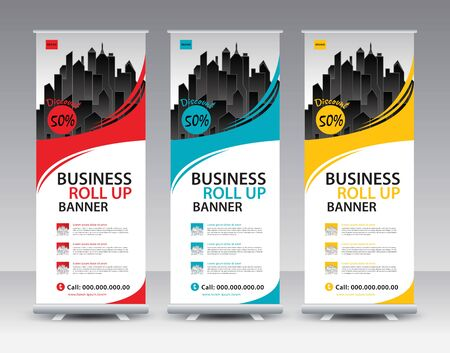 Business Roll Up Banner stand vector creative design. Sale banner stand or flag design layout. Modern Exhibition Advertising vector. Trend design geometric. Standard-Bild - 142115330