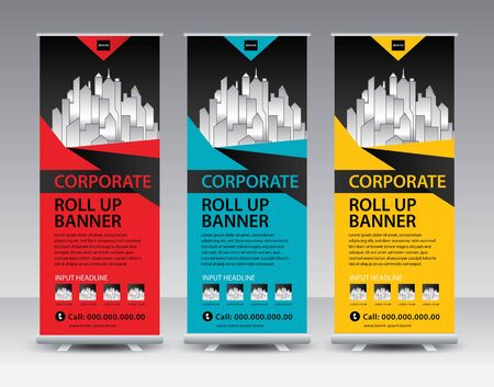 Corporate roll up Banner stand vector creative design. Sale banner stand or flag design layout. Modern Exhibition Advertising vector. Trend design geometric.