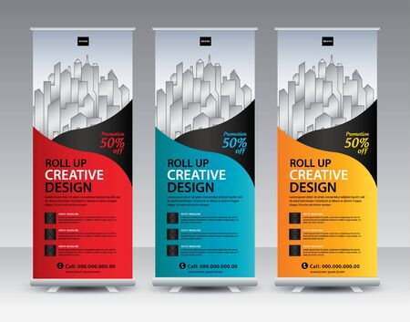 Roll up banner stand template Creative design, Modern Exhibition Advertising, flyer, presentation, pull up, web banner, leaflet, j-flag, x-stand, x-banner, poster, display, vector Ilustracja