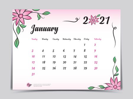 Calendar 2021 template pink flower concept creative design, January 2021 month,  Simple desk calendar design, Week starts from Sunday. vector Ilustracja