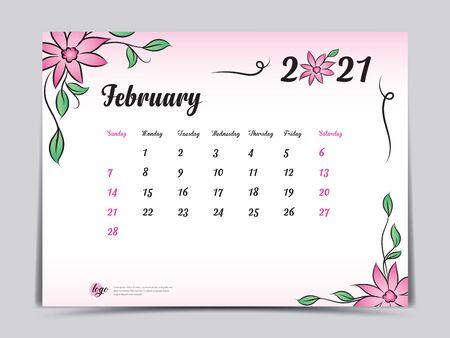 Calendar 2021 template pink flower concept creative design, February 2021 month,  Simple desk calendar design, Week starts from Sunday. vector