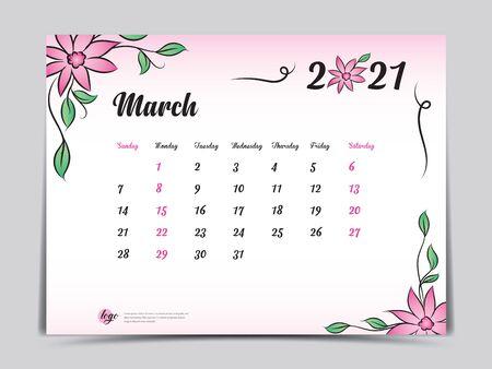 Calendar 2021 template pink flower concept creative design, March 2021 month,  Simple desk calendar design, Week starts from Sunday. vector