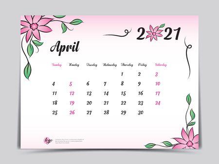 Calendar 2021 template pink flower concept creative design, April 2021 month,  Simple desk calendar design, Week starts from Sunday. vector
