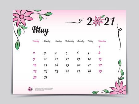 Calendar 2021 template pink flower concept creative design, May 2021 month,  Simple desk calendar design, Week starts from Sunday. vector