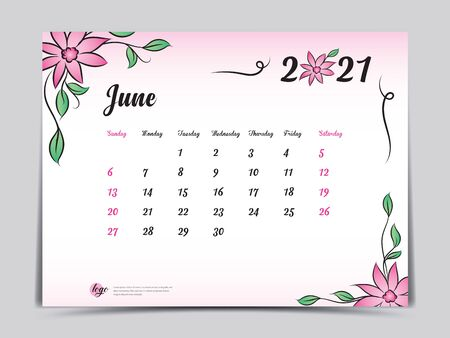 Calendar 2021 template pink flower concept creative design, June 2021 month,  Simple desk calendar design, Week starts from Sunday. vector