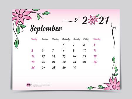Calendar 2021 template pink flower concept creative design, September 2021 month,  Simple desk calendar design, Week starts from Sunday. vector