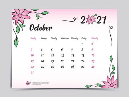 Calendar 2021 template pink flower concept creative design, October 2021 month,  Simple desk calendar design, Week starts from Sunday. vector Ilustracja