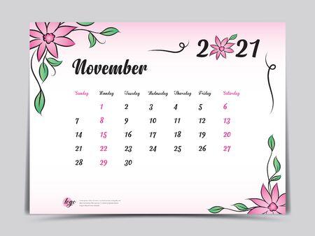 Calendar 2021 template pink flower concept creative design, November 2021 month,  Simple desk calendar design, Week starts from Sunday. vector