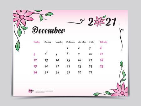 Calendar 2021 template pink flower concept creative design, December 2021 month,  Simple desk calendar design, Week starts from Sunday. vector