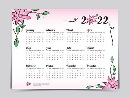 Calendar 2022 vector template, simple minimal design, Yearly calendar organizer for weeks, Week starts on Monday, Set of 12 calendar, Pink Flower background concept.