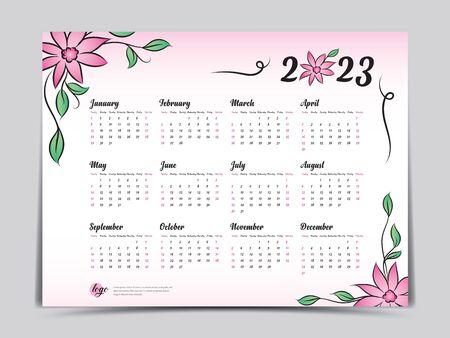 Calendar 2023 vector template, simple minimal design, Yearly calendar organizer for weeks, Week starts on Monday, Set of 12 calendar, Pink Flower background concept.