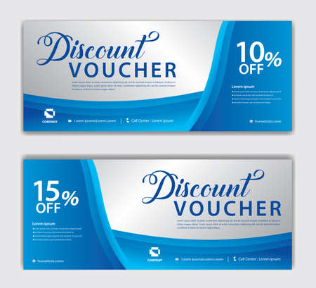 Blue Gift Voucher template, Discount voucher vector, Coupon, discount card, Sale banner, headers, web banner, Creative idea gift card Standard-Bild - 152509166