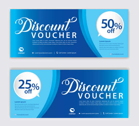 Blue Gift Voucher template, Discount voucher vector, Coupon, discount card, Sale banner, headers, web banner, Creative idea gift card