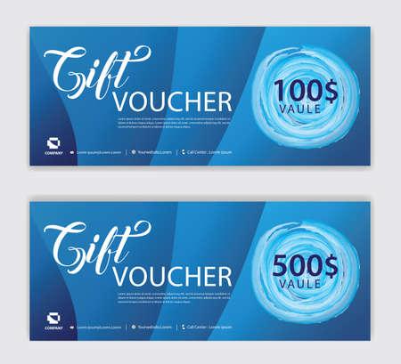 Blue Gift Voucher template, Discount voucher vector, Coupon, discount card, Sale banner, headers, web banner, Creative idea gift card Standard-Bild - 152463525