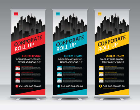 Corporate Roll Up Banner stand vector creative design. Sale banner stand or flag design layout. Modern Exhibition Advertising Standard-Bild - 153376387
