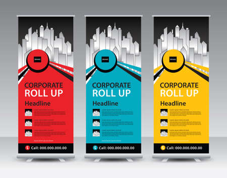 Corporate Roll Up Banner stand vector creative design. Sale banner stand or flag design layout. Modern Exhibition Advertising