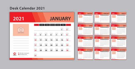 Set Desk Calendar 2021 template Vector, Week Start On Sunday, Planner, Stationery, Printing, advertisement, red background
