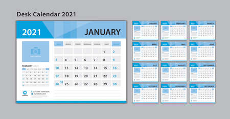 Calendar 2021 template, Set Desk Calendar design with Place for Photo and Company Logo. Wall calendar. Week Starts on Sunday. Set of 12 Months.