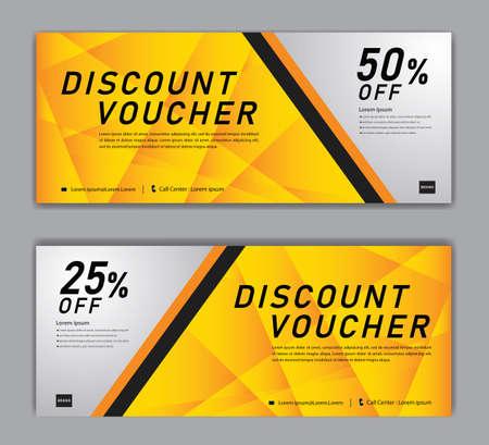 Yellow Gift Voucher template, Discount voucher vector, Coupon, discount card, Sale banner, headers, web banner, Creative idea gift card Illustration