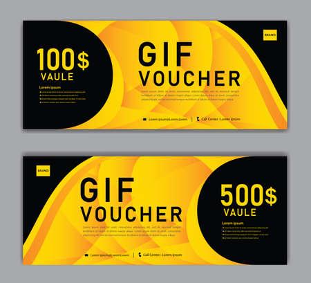 Yellow Gift Voucher template, Discount voucher vector, Coupon, discount card, Sale banner, headers, web banner, Creative idea gift card Standard-Bild - 155610034