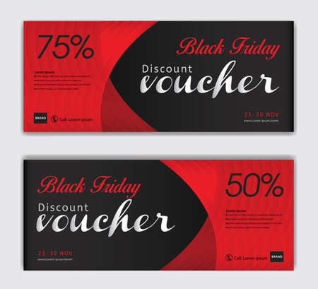 Black Friday voucher card vector template, Discount vouchers, Red Gift Voucher template, Coupon, discount card, Sale banner, headers, web banner, Creative idea gift card Illustration