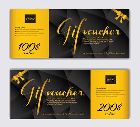 Gold Gift Voucher template luxurious concept vector illustration, Discount voucher vector, Coupon, discount card, Sale banner, headers, web banner, Creative idea gift card Illustration