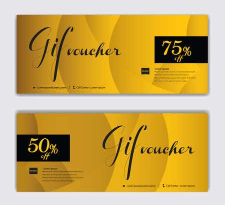 Gold Gift Voucher template luxurious concept vector illustration, Discount voucher vector, Coupon, discount card, Sale banner, headers, web banner, Creative idea gift card Standard-Bild - 156305547