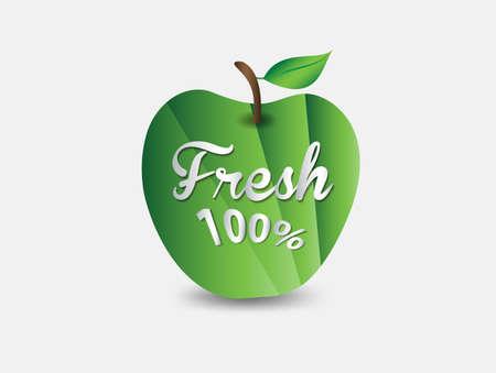 Green Apple fresh 100% icon Vector illustration