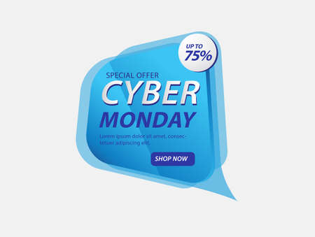Cyber monday banner template vector illustration, web banner, discount icon