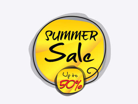 Summer sale banner template vector illustration, web banner, discount icon