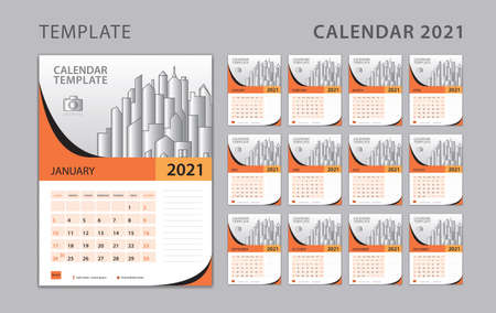 Calendar 2021 template, Set Desk Calendar design with Place for Photo and Company  . Wall calendar. Week Starts on Sunday. Set of 12 Months.