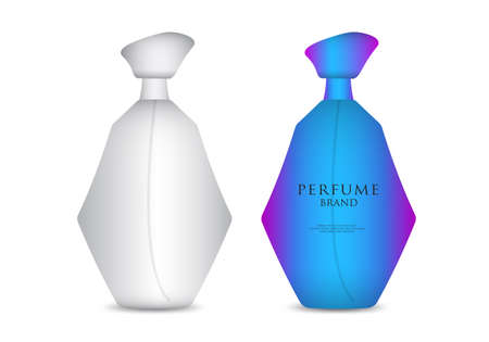 Perfume bottle isolated realistic vector 3D illustration, packaging design, product design